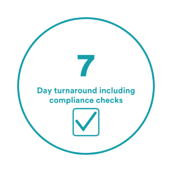 7 day turnaround including compliance checks